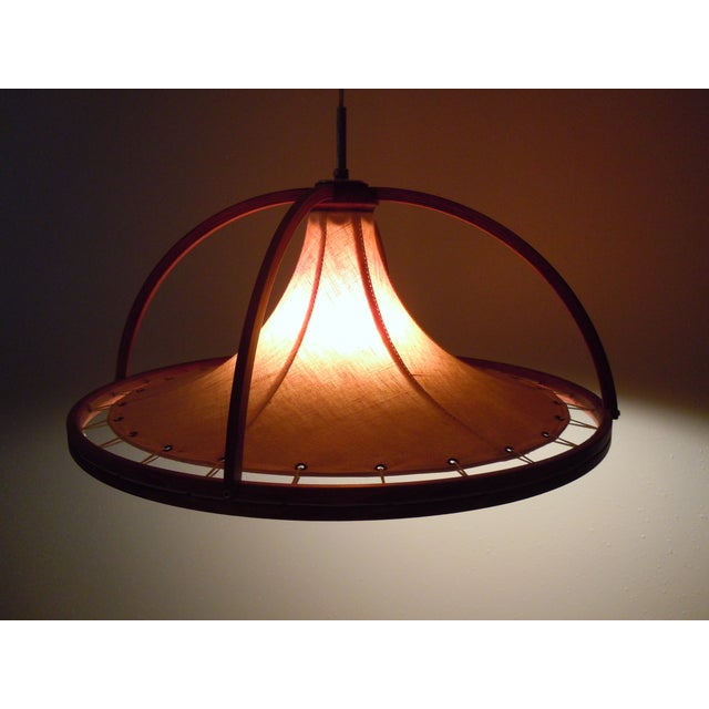 Danish Modern Teak & Canvas Pendant Light - Image 5 of 7