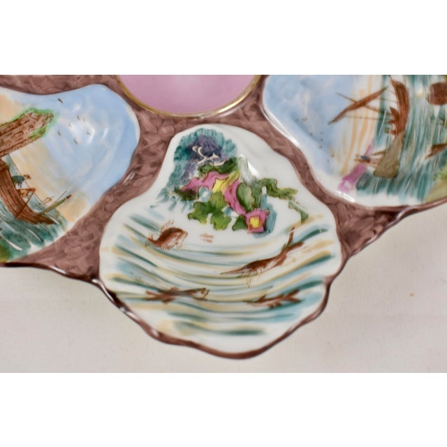 Blue French Porcelain Hand-Painted Fishing Scene Oyster Plate For Sale - Image 8 of 13