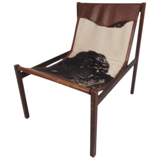 Vintage Cowhide and Leather Italian Lounge Chair by Delgase Displays For Sale