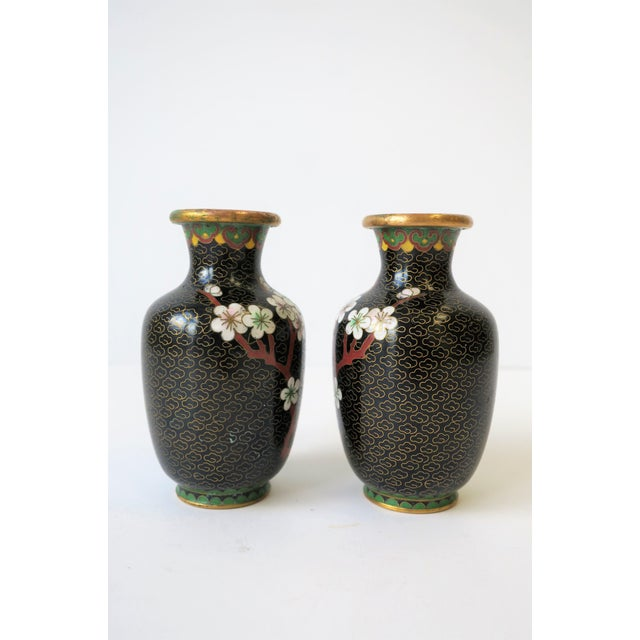 Black White and Ox Blood Cloisonne and Brass Vases For Sale - Image 11 of 13