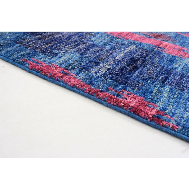 Boho Chic 1960's Abstract Bohemian Pink and Blue Handmade Wool Rug For Sale - Image 3 of 6