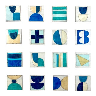 """""""Salt Water"""" Contemporary Encaustic Collage Installation by Gina Cochran - 16 Panels For Sale"""