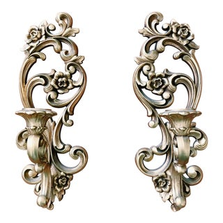 Mid 20th Century Vintage Gold Syroco Hanging Sconces / Candle Holders - a Pair For Sale