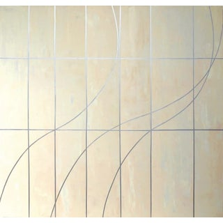 """Gudrun Mertes-Frady """"Summer"""", Abstract Neutral Metallic Painting on Canvas For Sale"""