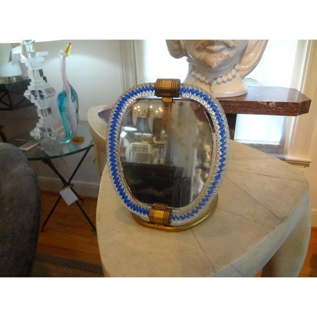 Art Deco 1940s Venini Style Murano Glass and Bronze Vanity Mirror For Sale - Image 3 of 9