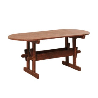 19th Century Swedish Falun Red Wood Trestle Breakfast Table or Desk For Sale