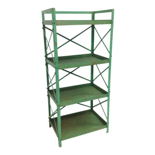 French Industrial Kelly Green Shelf Unit For Sale