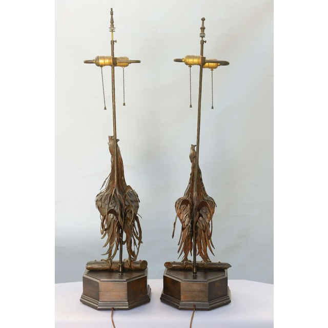 Mid 19th Century Pair of 19th C. Bronze Rooster Lamps For Sale - Image 5 of 9