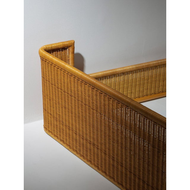 Modern Double Bed Wicker Frame by Adalberto Dal Lago for Germa For Sale - Image 3 of 7
