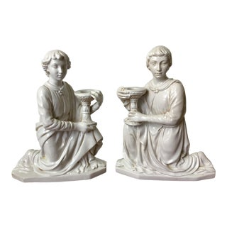 1950s Zaccagnini Italian Pottery Roman Greek Figural Candle Holders - a Pair For Sale