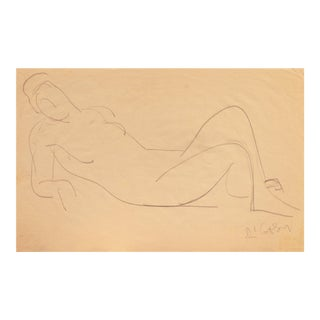 'Reclining Nude' by Victor DI Gesu; Mid-Century California Post-Impressionist, Louvre, Académie Chaumière For Sale