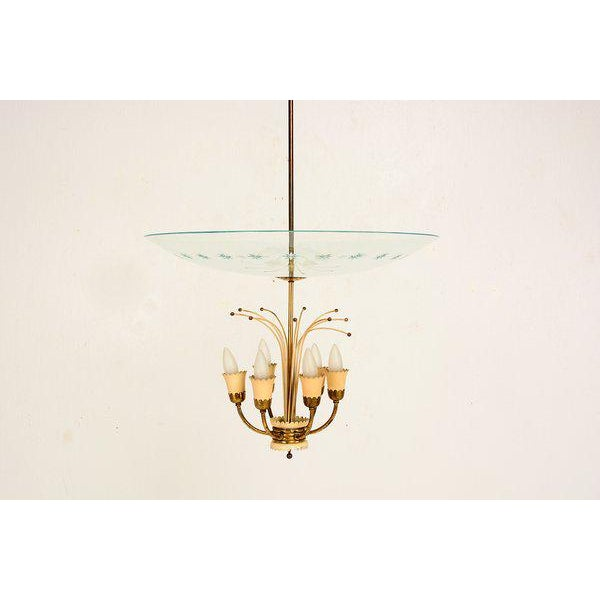 Italian Chandelier After Fontana Arte For Sale - Image 9 of 9