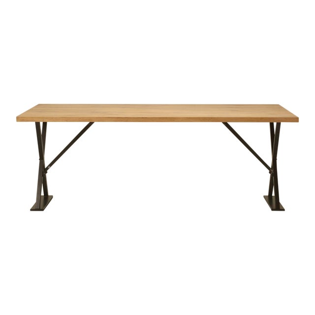 Industrial Inspired Kitchen Table From French White Oak and Steel For Sale