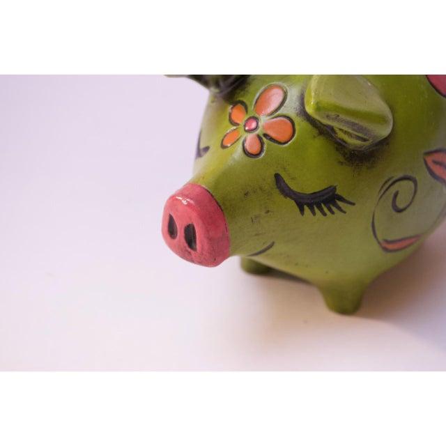 Lime Vintage Japanese Paper Mache Piggy Bank For Sale - Image 8 of 11