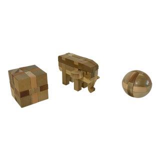 Vintage Wooden Puzzles - Set of 3 For Sale