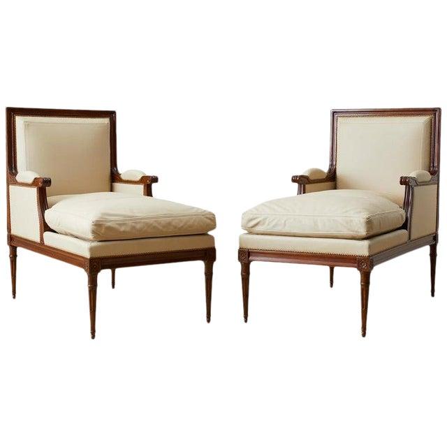 Maison Jansen Louis XVI Style Long Bergere Armchairs - a Pair For Sale