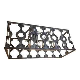 Large Rectangular Washed Metal Chandelier For Sale
