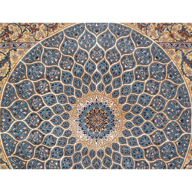 Islamic Pasargad Persian Isfahan Korker Wool & Silk Highlighted Rug - 5′0″ × 7′5″ For Sale - Image 3 of 5