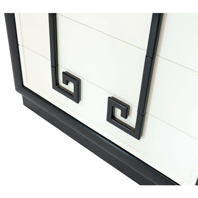 Wood Kittinger Mandarin Style Chest Dresser Black and White Lacquer Five Drawers For Sale - Image 7 of 11