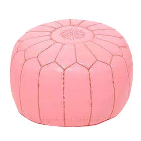 Moroccan Leather Pouf Footstool Rose Petal Pink - Image 1 of 2