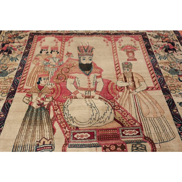 Pictorial Antique Persian Kerman Rug - 4′8″ × 7′6″ For Sale - Image 9 of 13