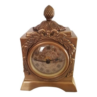 Vintage Solid Brass Four Footed Desk Clock For Sale