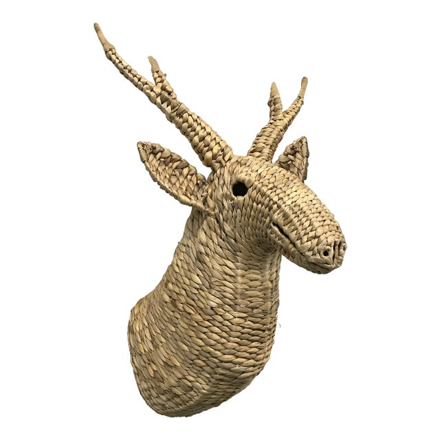 Seagrass Woven Stag Head For Sale