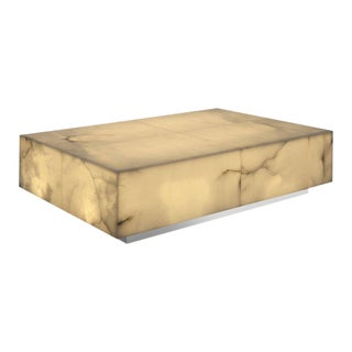Alabaster Illuminated Rectangular Coffee Table by Jacobo Ventura For Sale