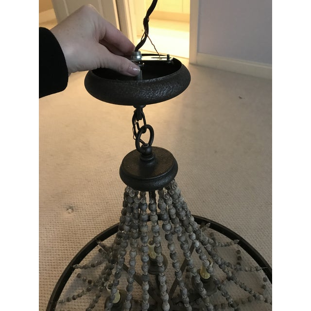 Rustic French Country Beaded Chandelier For Sale In Charlotte - Image 6 of 7