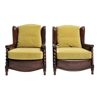 Pair of French Leather Chairs For Sale