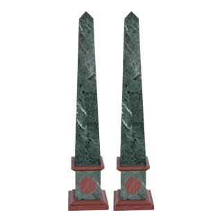 Tour Obelisks in Green and Red Marble - a Pair For Sale