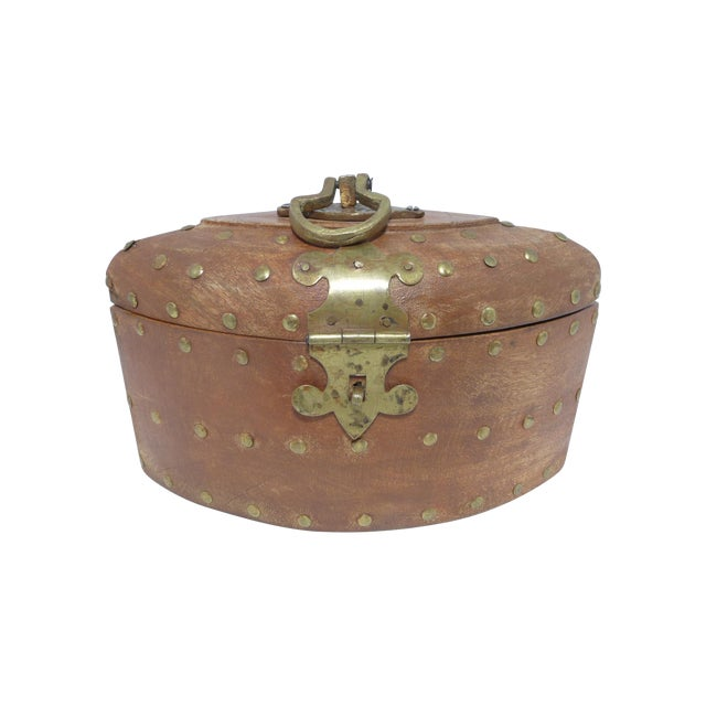 Rustic Wooden Box With Brass Accents - Image 1 of 7