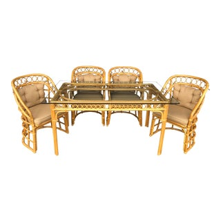 20th Century Boho Chic Rattan Dining Set - 5 Pieces For Sale