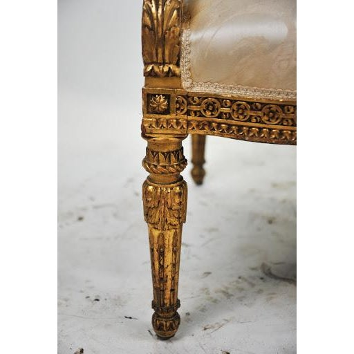 Giltwood Louis XVI Gilded Settee For Sale - Image 7 of 11