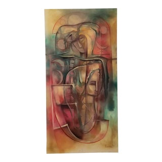 1990 Vintage Ileana Ferrer Govantes Abstract Oil on Canvas Painting . For Sale