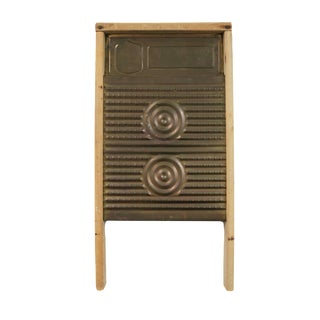 Antique Magic Circle Hand-E-Washboard Wood Brass Laundry Wash Board