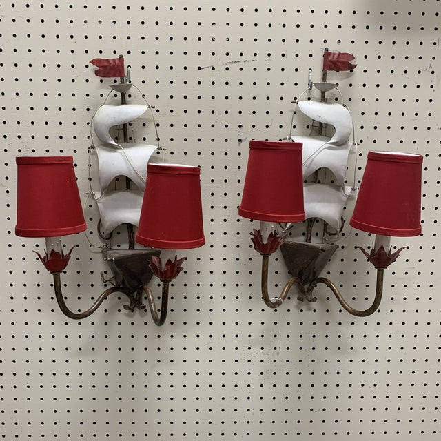 Red Vintage 1960s Mid-Century Modern Arm Metal Ship Sconces - a Pair For Sale - Image 8 of 8