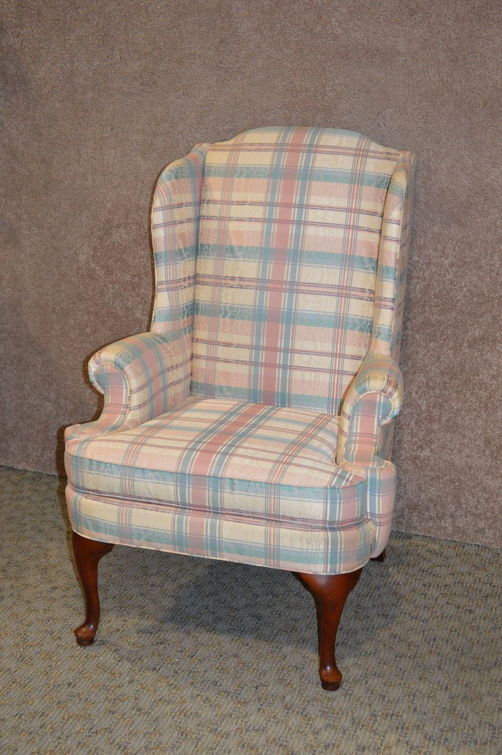 Thomasville Queen Anne Style Wingback Chair   Image 10 Of 10
