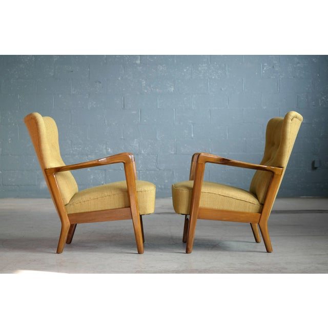 Fritz Hansen Danish Pair of Low Back Lounge Chairs With Open Armrests, 1940s For Sale - Image 10 of 13
