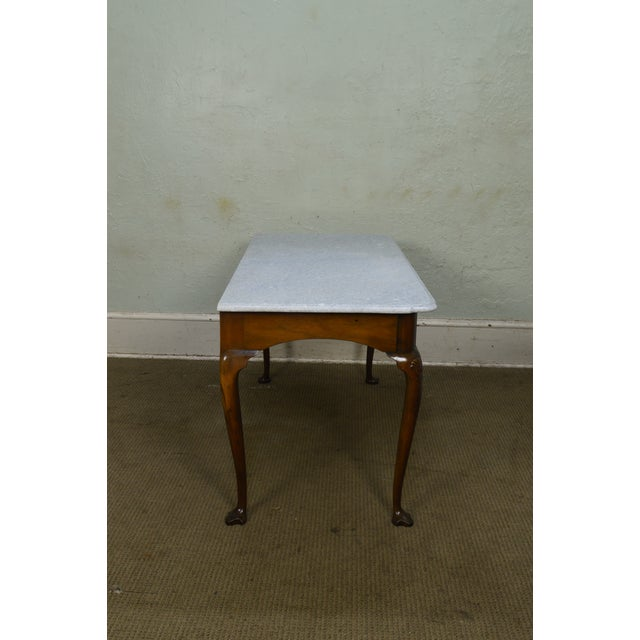 Kittinger Colonial Williamsburg Cwiss Mahogany Marble Top Mixing Table Console For Sale - Image 9 of 13