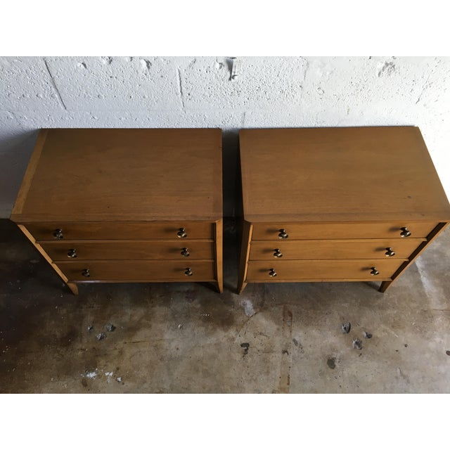 Tan Vintage Mid Century Modern Nightstands by Mount Airy (a Pair) For Sale - Image 8 of 11