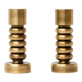 Brass Danish Modern Candlesticks, a Pair For Sale