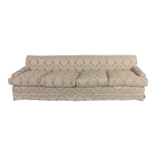 Damask Upholstered Plush Down-Filled Sofa With Rope Trim and Pleated Skirt For Sale