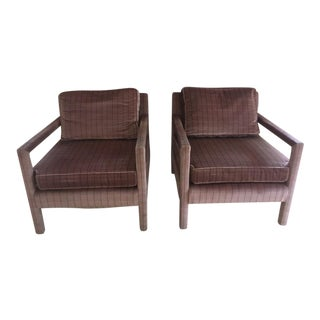1970s Vintage Parsons Style Arm Chairs- A Pair For Sale