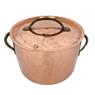 18th Century English Hand-Hammered Copper Stock Pot For Sale