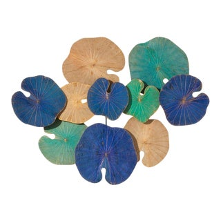 Modern Genuine Lotus Leaf Wall Sculpture For Sale