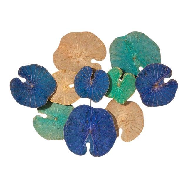 Modern Genuine Lotus Leaf Wall Sculpture For Sale