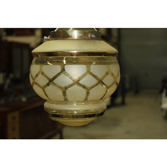 Circa 1940s French Art Deco One Light Globe Chandelier Lantern - Image 3 of 11