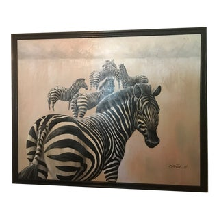 1980s Oversized Vintage Zebra Oil Painting