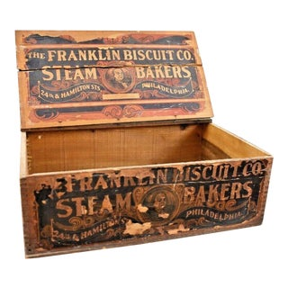 Early 20th Century Primitive Franklin Biscuit Co Philadelphia Wood Crate For Sale